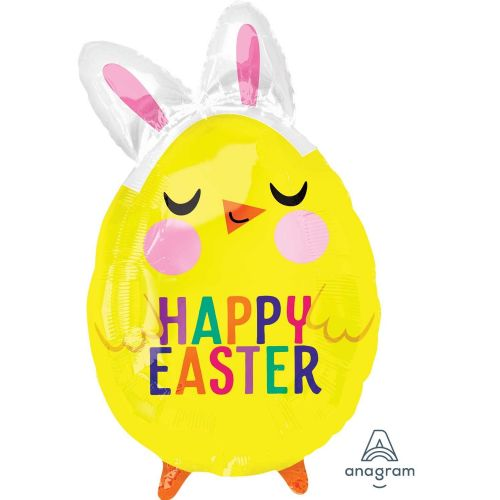 "Happy Easter Chick with Bunny Ears Junior Shape XL Foil Balloons 13""/33cm w x 22""/55cm h S40"